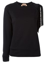 N 21 No21 Cut Out Fringed Sleeve Jumper Women Cotton Polyester Viscose 38 Black