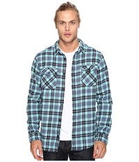 Rvca That'll Work Flannel Long Sleeve Nile Blue Men's Clothing