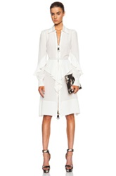 Givenchy Zip Front Ruffle Silk Dress In White