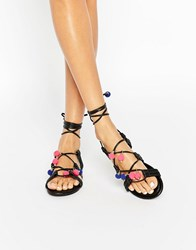 New Look Pompom Lace Up Sandal Blue