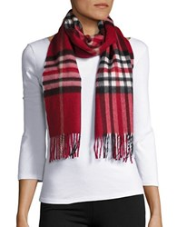 Lord And Taylor Plaid Cashmere Scarf Red