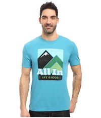Life Is Good All In Mountains Cool Tee Vivid Blue Men's T Shirt