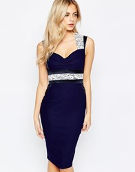 Vesper V Neck Pencil Dress With Lace Inserts Navy
