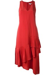 Tibi V Neck Ruffle Dress Red