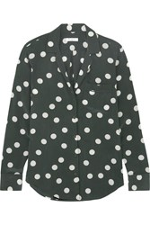 Equipment Keira Polka Dot Washed Silk Shirt Emerald