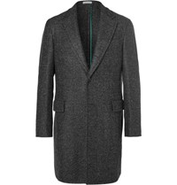 Boglioli Grey Speck Herringbone Virgin Wool Blend Coat Gray