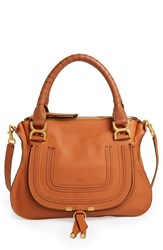 Chloe Chloe 'Marcie Small' Leather Satchel Beige Tan Gold Hrdwre