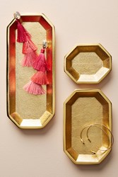 Anthropologie Octogonal Tray Set Gold