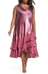 Komarov Plus Size Tiered Hem Dress With Jacket Rose Plum Orchid Ombre