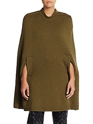 Marc Jacobs Long Wool And Cashmere Cape Military Green