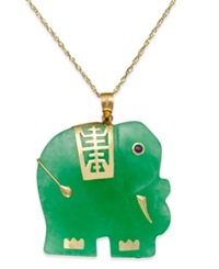 Macy's Dyed Jade Elephant Pendant Necklace In 14K Gold 25Mm Yellow Gold
