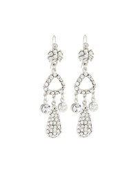 Jose And Maria Barrera Silvertone Crystal Triple Drop Earrings