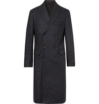 Oliver Spencer Double Breasted Prince Of Wales Checked Lambswool Coat Blue