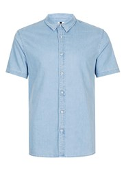 Topman Blue Bleach Wash Muscle Fit Short Sleeve Denim Shirt