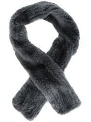 Yves Salomon Fur Scarf Grey