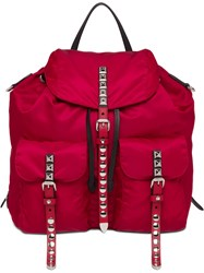 Prada Studded Detail Backpack Red