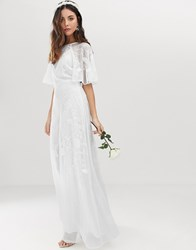 Asos Edition Embroidered Flutter Sleeve Wedding Dress White