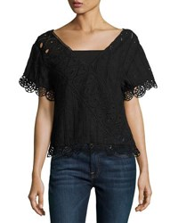 Opening Ceremony Anglaise Popover Embroidered Top Black