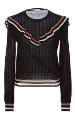 Red Valentino Ruffle Eyelet Sweater Black