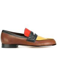 Paul Smith London Block Panel Loafers Brown