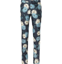 Valentino Flower Print Silk Trousers Blue