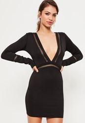 Missguided Black Long Sleeve Front Plunge Mesh Panel Bodycon Dress