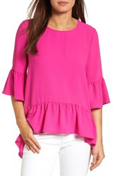 Gibson Women's Ruffled Handkerchief Hem Top Neon Pink