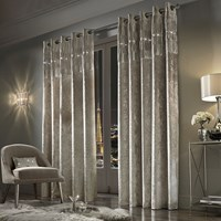 Kylie Minogue At Home Veda Lined Eyelet Curtains Praline Neutral