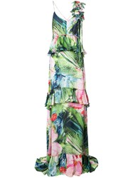 Josie Natori Sunset Palms Tiered Dress Multicolour