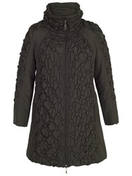 Chesca Button Quilted Coat Black