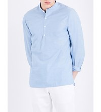 Sandro Pearlescent Button Cotton Shirt Sky Blue