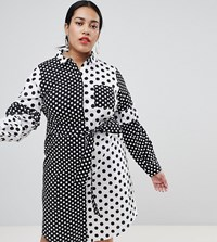 Lost Ink Plus Shirt Dress With Tie Waist In Mix N Match Spot Spot Multi White