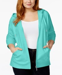 Styleandco. Style And Co. Sport Plus Size Hooded Active Jacket Only At Macy's Pacific Aqua