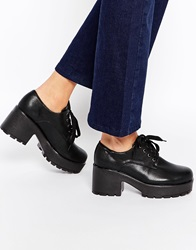 Truffle Collection Platform Lace Up Heeled Shoes Blackpu