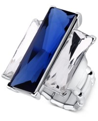 Guess Silver Tone Blue And Clear Rectangle Stone Stretch Ring
