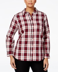 Charter Club Plus Size Plaid Shirt Only At Macy's Cloud Combo