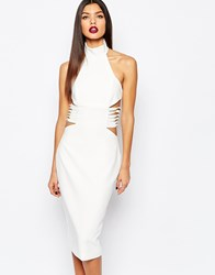 Aq Aq Aqaq Diaz Knee Midi Pencil Dress With Lace Up Sides Cream