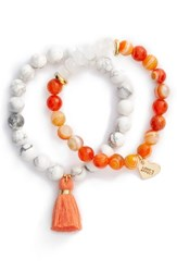 Love's Affect Women's Set Of 2 Semiprecious Stone Tassel Bracelets Coral