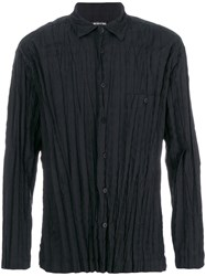 Issey Miyake Pleated Shirt Men Cotton Polyester 3 Black