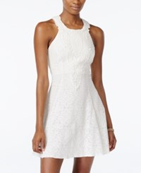 City Triangles City Studios Juniors' Crochet Lace Fit And Flare Dress Ivory