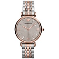 Emporio Armani Ar1840 Women's Two Tone Bracelet Strap Watch Silver Rose Gold