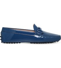 Tod's Gommino Patent Leather Driving Shoes Navy