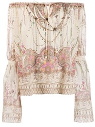 Camilla Off Shoulder Printed Blouse Neutrals