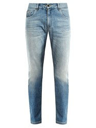 Fendi Slim Leg Faded Jeans Light Blue