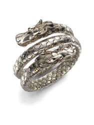 John Hardy Naga 18K Yellow Gold And Sterling Silver Dragon Head Double Coil Bracelet No Color