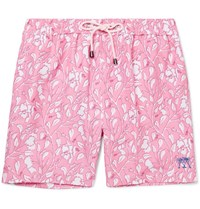Pink House Mustique Mid Length Hibiscus Print Swim Shorts Pink