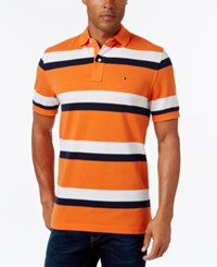 Tommy Hilfiger Men's Ace Striped Polo Tempe Orange