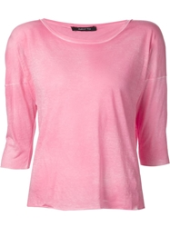 Avant Toi Boat Neck 3 4 Sleeves T Shirt Pink And Purple