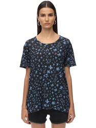 Zadig And Voltaire All Over Print Linen Jersey T Shirt Blue