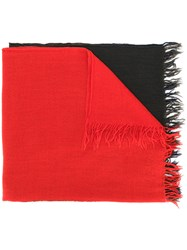 Y's Block Colour Scarf Wool Red